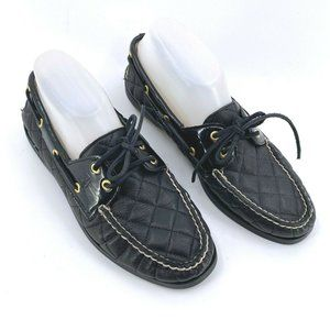 Sperry Top-Sider Black Leather Quilted Boat Shoes